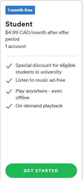 Spotify Student Subscription Plan