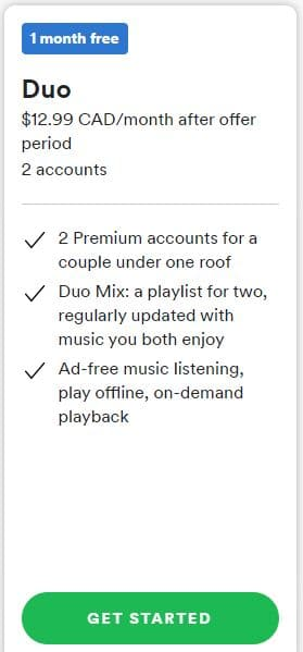 Spotify Duo Subscription Plan
