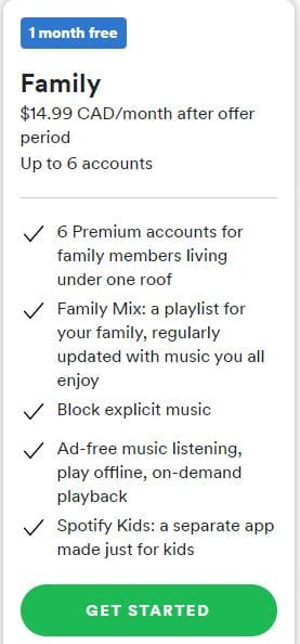 Spotify Family Subscription Plan