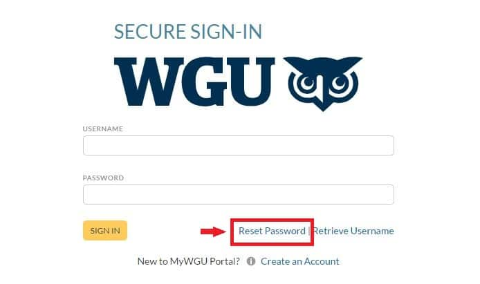 Reset WGU password