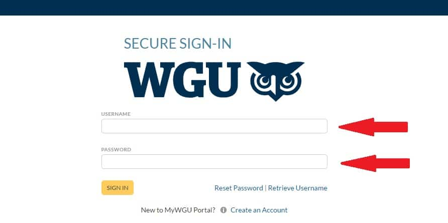 WGU Login Procedure